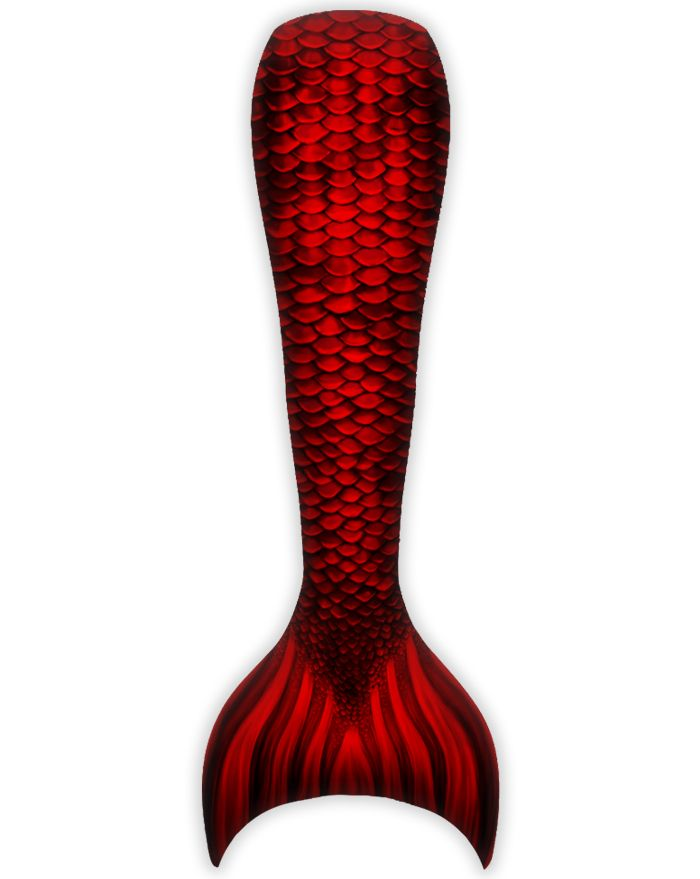 Kids Red Sea Mermaid Guppy Tail Combo