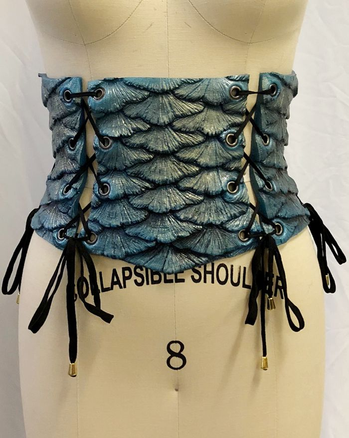 Blue Steel Mermaid Scale Corset
