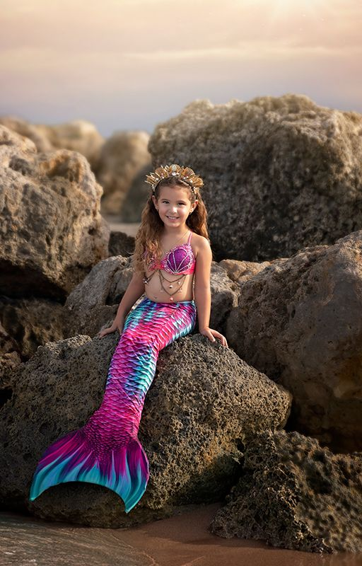 Kids Aqua Fairy Guppy Mermaid Tail Combo