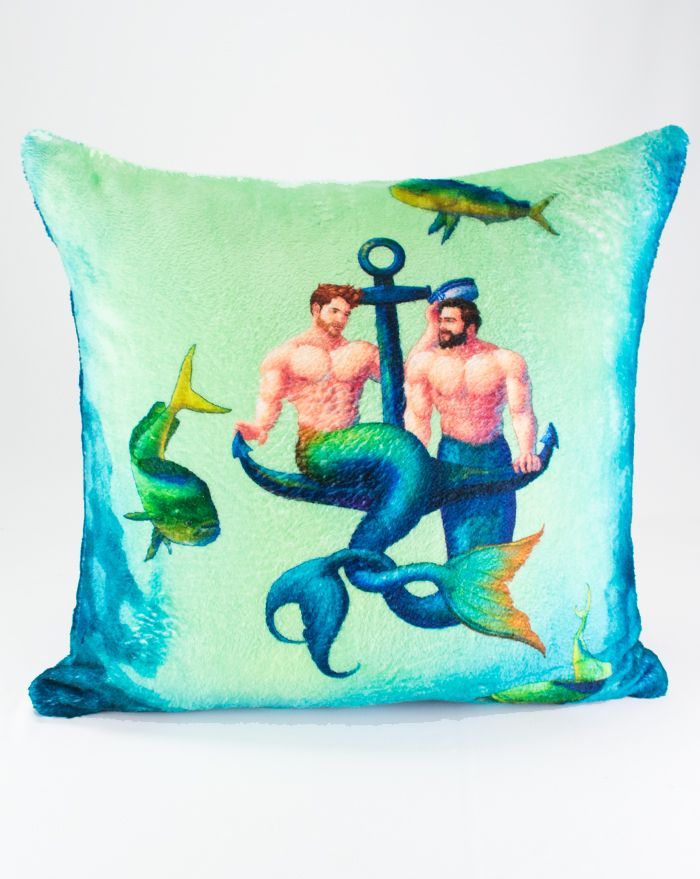 Two Mermen One Anchor Throw Pillow 22''