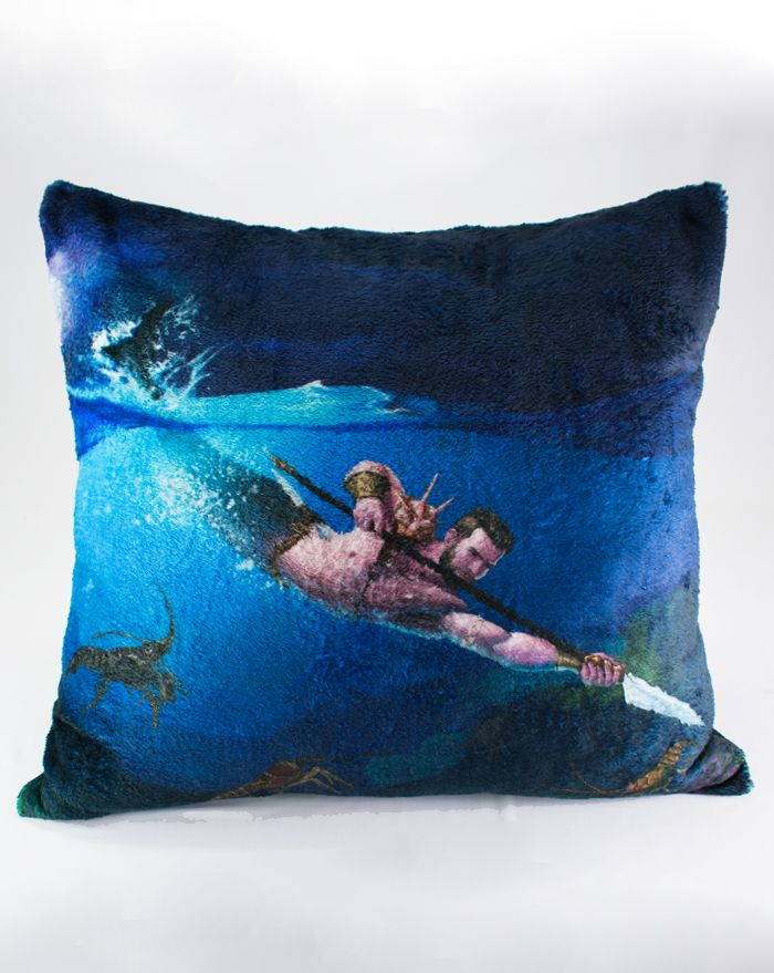 Merman Hunter Throw Pillow 22''