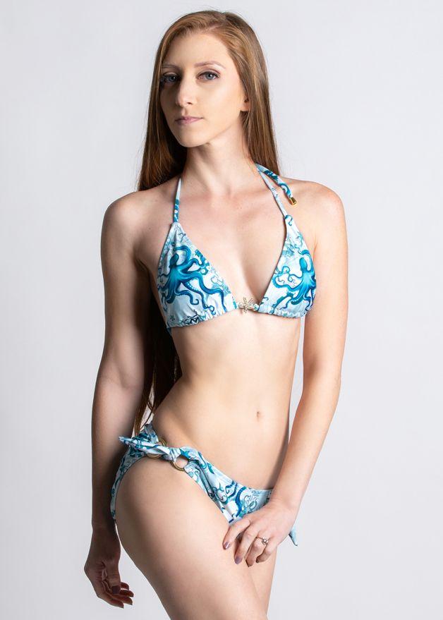 Octopus Fields Triangle Bikini Top